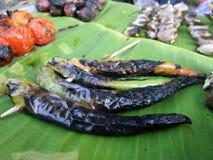 Grilled green chilli for Nam Prik Chilli sauce Stock Image