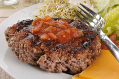 Grilled ground beef patty Stock Image