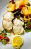 Grilled Hake with potatoes and green peppers. Stock Photos