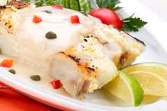 Grilled halibut Stock Photography