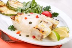 Grilled halibut Royalty Free Stock Photography