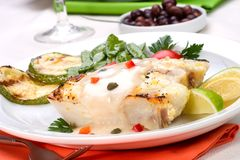 Grilled halibut Royalty Free Stock Images
