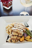 Grilled halibut with beurre blanc and wine Royalty Free Stock Images
