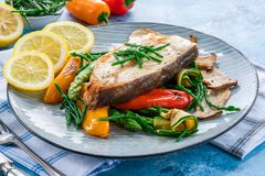 Grilled halibut steak with vegetables royalty free stock image