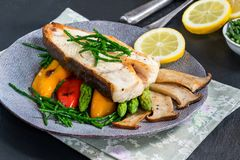 Grilled halibut steak with vegetables royalty free stock photography
