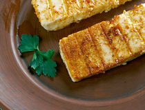 Grilled Halloumi cheese stock photo