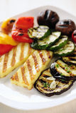 Grilled Halloumi cheese and vegetables Royalty Free Stock Image