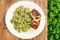 Grilled Halloumi with Pesto Farfalle Stock Photography
