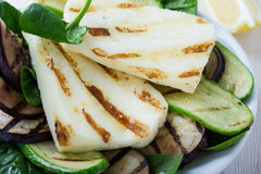 Grilled halloumi salad with eggplant and zucchini Royalty Free Stock Image