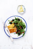 Grilled Halluomi with Blackberry and Arugula Salad with Pomegranate Seeds Stock Photos