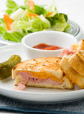 Grilled ham and cheese sandwich Royalty Free Stock Photos