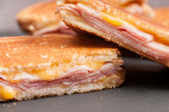 Grilled ham with cheese take out sandwich Stock Images