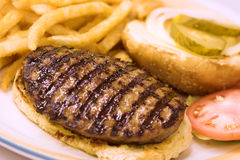Grilled hamburger stock photography