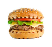 Grilled hamburger isolated on white background. Grilled hamburger with salad on white background Royalty Free Stock Photo