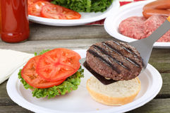 Grilled Hamburger Picnic Royalty Free Stock Images