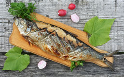 Grilled herring, radishes and parsley on a cutting Boards close Royalty Free Stock Photos