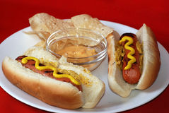 Grilled Hot Dogs with Chips and Dip Royalty Free Stock Photography