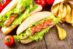 Grilled hot dogs with ketchup and mustard Stock Photography