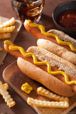 Grilled hot dogs with mustard and french fries Royalty Free Stock Images