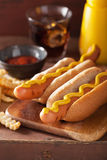Grilled hot dogs with mustard and french fries Royalty Free Stock Photos