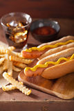 Grilled hot dogs with mustard and french fries Stock Photos