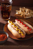 Grilled hot dogs with mustard ketchup and french fries Royalty Free Stock Photo