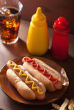 Grilled hot dogs with mustard ketchup and french fries Royalty Free Stock Images