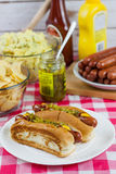Grilled Hot Dogs Stock Photography