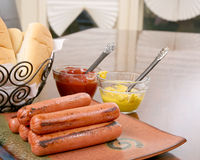 Grilled hot dogs ready to serve Stock Image