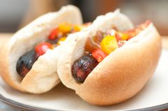 Grilled hot dogs Stock Photo