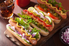 Grilled hot dogs with vegetables ketchup mustard Stock Images