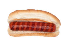 Grilled hotdog on white Royalty Free Stock Photos