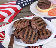 Grilled Independence Day Burgers Stock Images