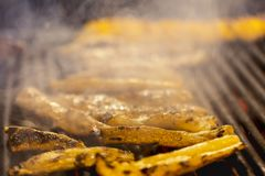 Intestine pork on the grill. Grilled intestine pork on the grill royalty free stock image