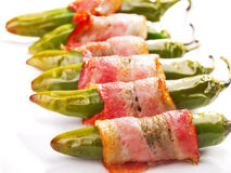 Grilled jalapenos wrapped in bacon Royalty Free Stock Photos