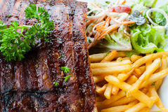Grilled juicy barbecue pork ribs Stock Photo