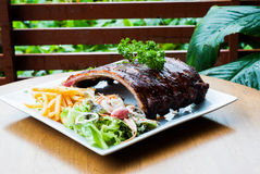 Grilled juicy barbecue pork ribs Stock Photography