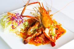 Grilled jumbo fresh water shrimp salad Royalty Free Stock Image