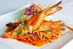 Grilled jumbo fresh water shrimp salad Stock Photos