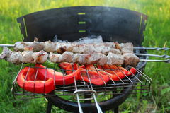 Grilled kabob with pepper Royalty Free Stock Photography