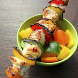 Grilled kabob with pepper Stock Image