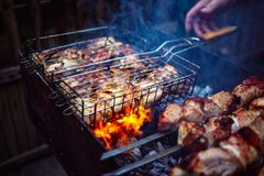 Grilled kebab cooking on metal grill frame. Roasted meat. Cooked at barbecue with smoke. Close up BBQ fresh chicken meat slices. Traditional eastern dish. Grill Stock Image