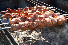 Grilled kebab cooking on metal skewer.  Roasted meat cooked at barbecue. Royalty Free Stock Images
