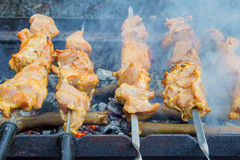 Grilled kebab cooking on metal skewer. Roasted meat cooked at barbecue. Royalty Free Stock Photos
