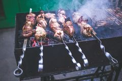 Free Grilled Kebab Cooking On Metal Skewers Grill Stock Images - 100216344