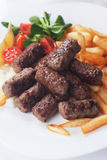 Grilled kebab with french fries Royalty Free Stock Photography