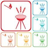 Grilled kebab icon Stock Photos