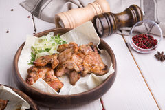 Grilled kebab meat. Grilled lamb meat with marinated onion in rustic style Royalty Free Stock Image