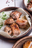 Grilled kebab meat. Grilled lamb meat with marinated onion in rustic style Royalty Free Stock Photo