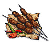 Grilled kebab. With pita bread Royalty Free Stock Images